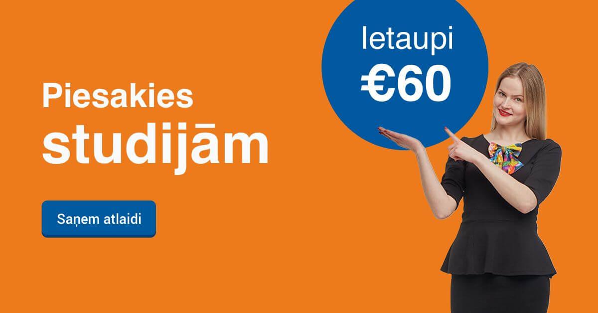 Rezervē labāko cenu līdz 20. septembrim un ietaupi 70 EUR studijām
