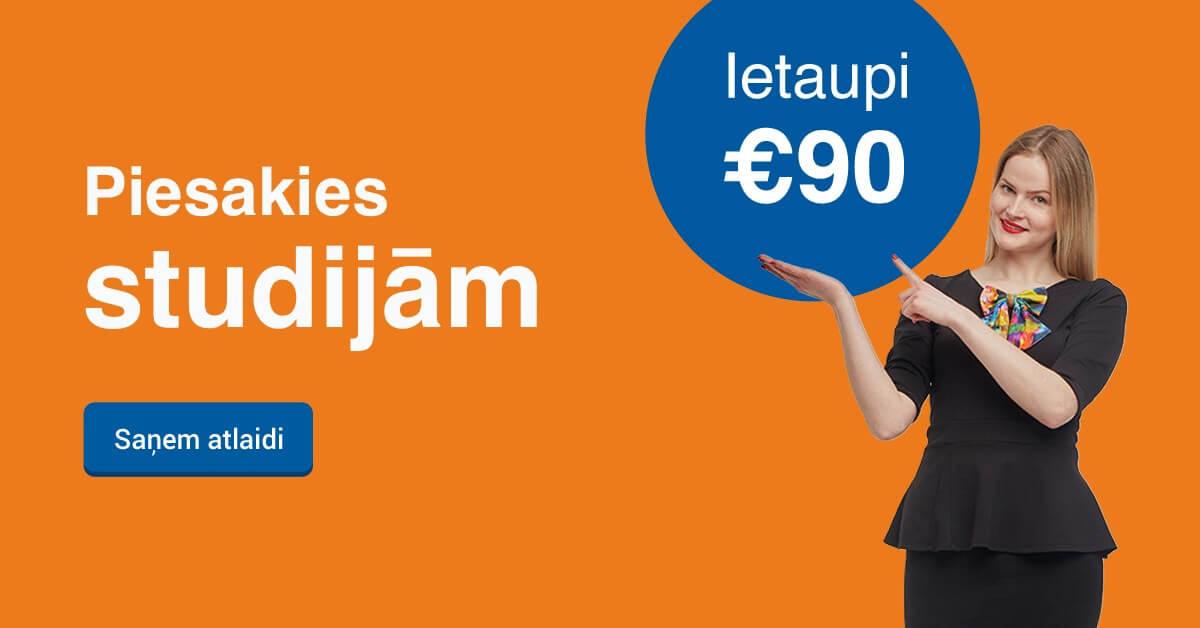 Rezervē labāko cenu līdz 23. augustam un ietaupi 90 EUR studijām