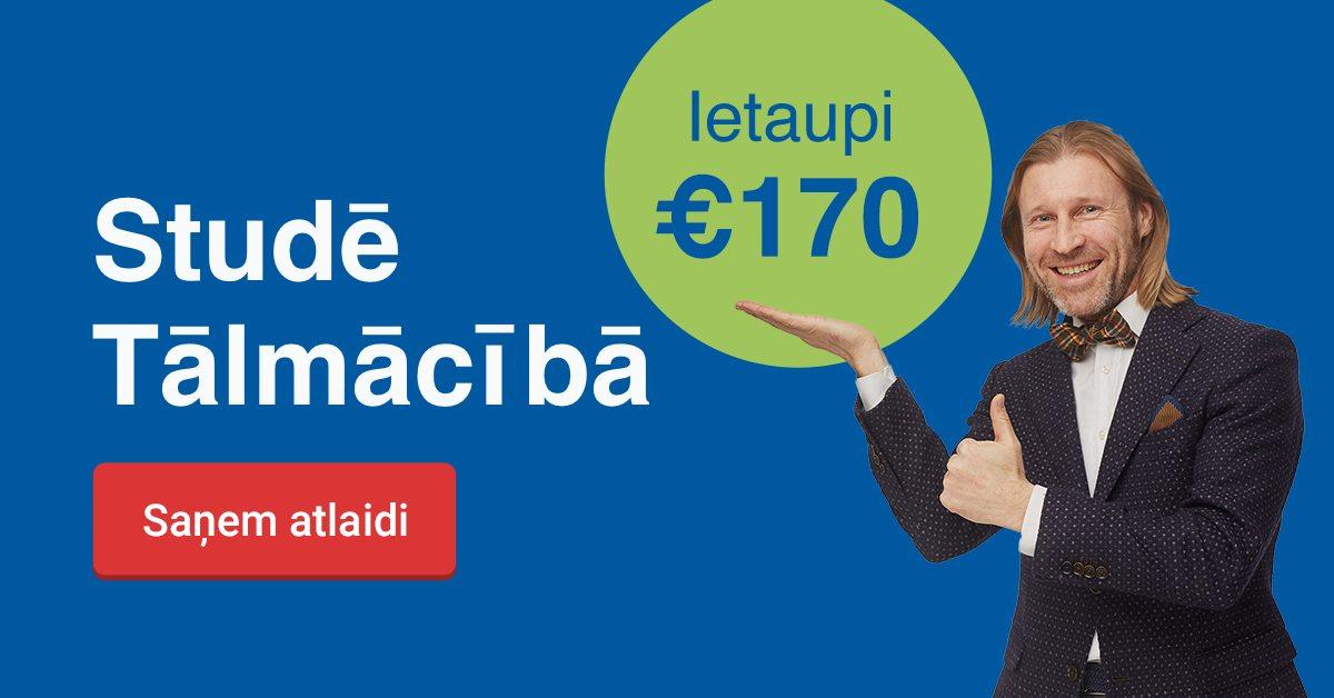 Rezervē labāko cenu līdz 13. decembrim un ietaupi 170 EUR studijām