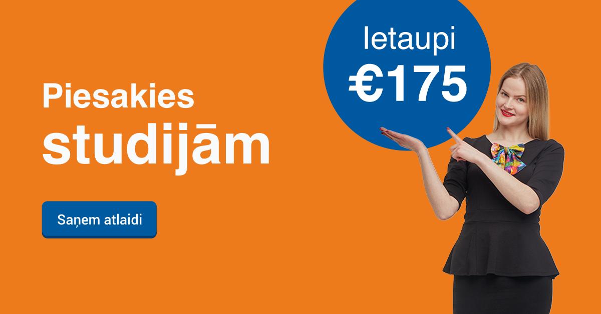 Rezervē labāko cenu līdz 16. maijam un ietaupi 200 EUR studijām