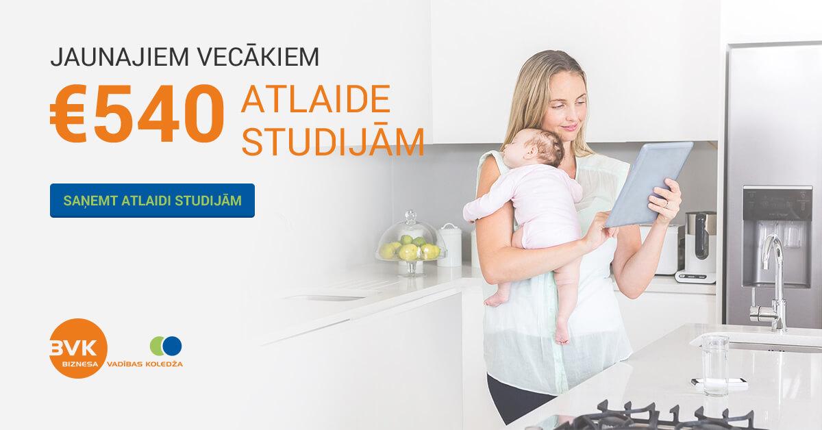 Jaunajiem vecākiem tālmācības studijām atlaide €540
