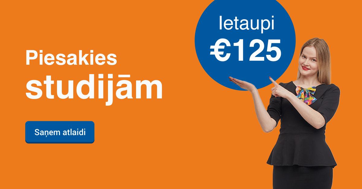 Rezervē labāko cenu līdz 19. jūlijam un ietaupi 125 EUR studijām