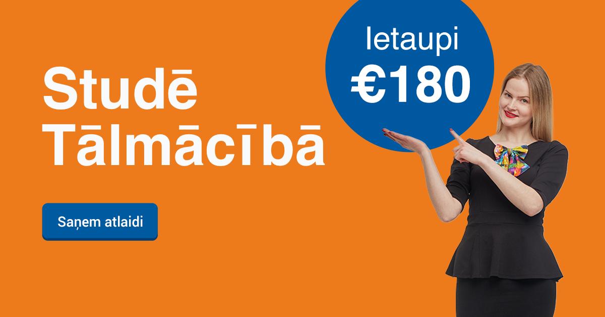 Rezervē labāko cenu līdz 13. decembrim un ietaupi 180 EUR studijām