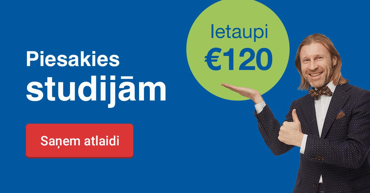 Rezervē labāko cenu līdz 24. janvārim un ietaupi 120 EUR studijām