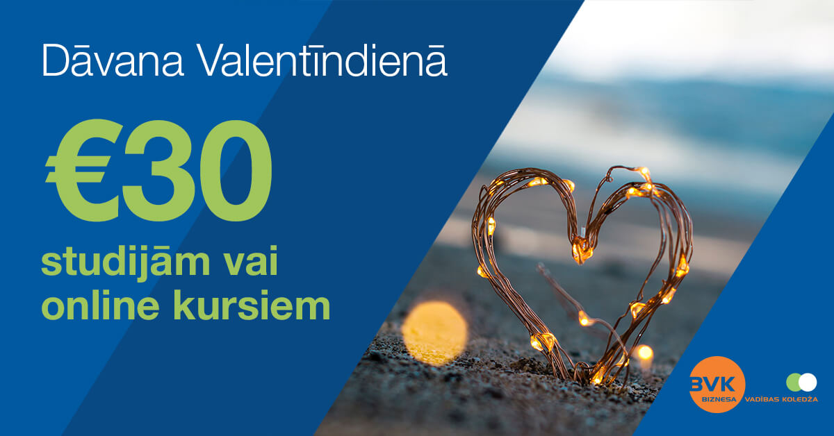 Saņem BVK Dāvanu karti 30 EUR vērtībā studijām vai kursiem bez maksas!